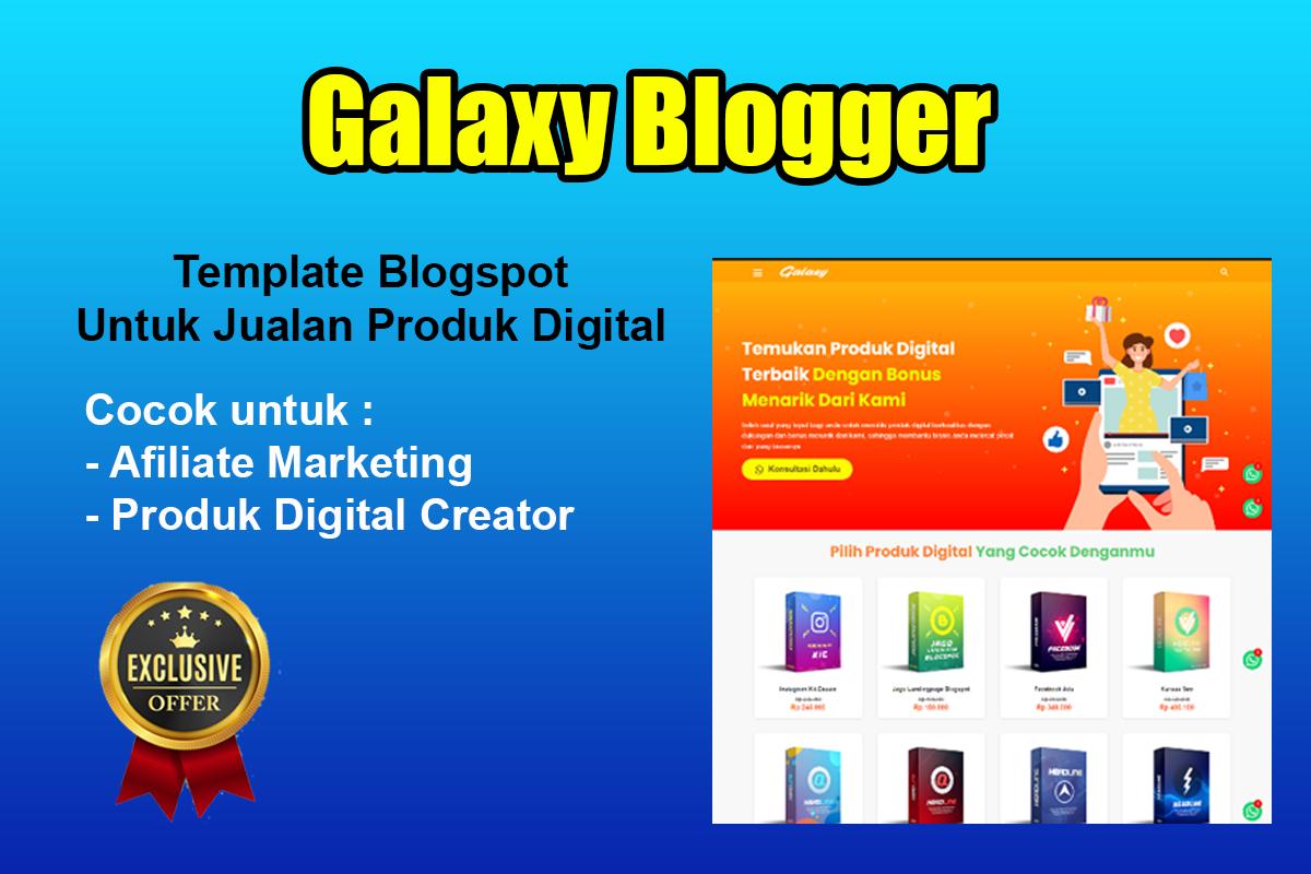 template blogspot untuk marketplace produk digital sendiri dimana template ini memiliki tampilan kekinian yang cocok bagi para creator produk digital maupun para affiliate marketing